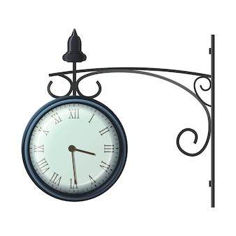 壁のヴィンテージ時計のイラスト。白で隔離