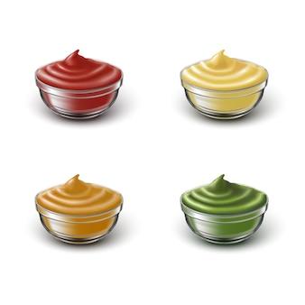 Набор иконок прозрачных чаш с разными соусами