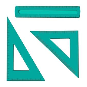三角形と正方形の定規のセット。