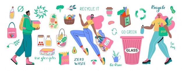 ゼロ廃棄物の耐久性と再利用可能なアイテムまたは製品のコレクション-ガラス瓶、エコ食料品袋、木製カトラリー、櫛、歯ブラシとブラシ、サーモマグ。フラットセットの図