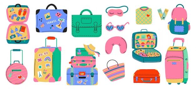 各種荷物バッグ、スーツケース、首枕、荷物、トラベルバッグのセットです。休暇、休日。手描きセット。カラフルなトレンディなイラスト。漫画のスタイル。フラットなデザイン。すべての要素が分離されています