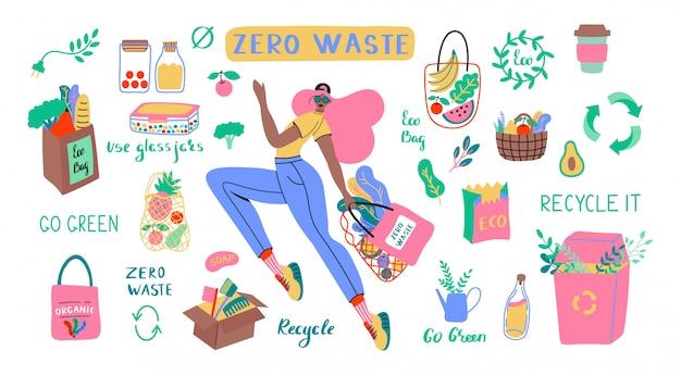ゼロ廃棄物の耐久性と再利用可能なアイテムまたは製品のコレクション-ガラス瓶、エコ食料品バッグ、木製カトラリー、くし、歯ブラシとブラシ、サーモマグ。フラットセットイラスト