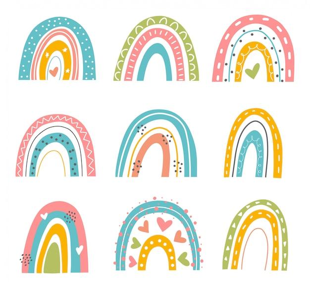 抽象的なレインボーセット。手は、シンプルなスカンジナビアスタイルで虹を描いた。現代の赤ちゃん、子供のイラスト。さまざまな形の虹。カラフルな現代アート