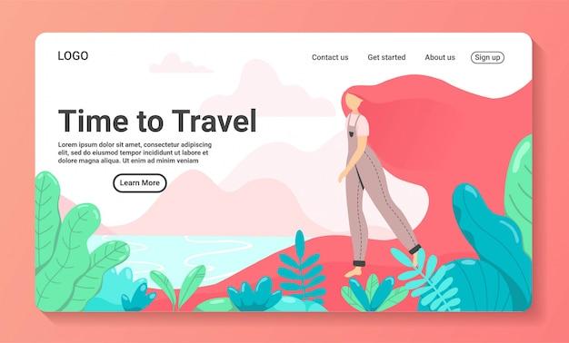 Иллюстрация времени путешествовать для шаблонов целевой страницы деловых поездок. женщина туристы, путешествующие с семьей, друзьями или в одиночку, отправляются в путешествие по экзотическому месту с пальмами. плоский стиль