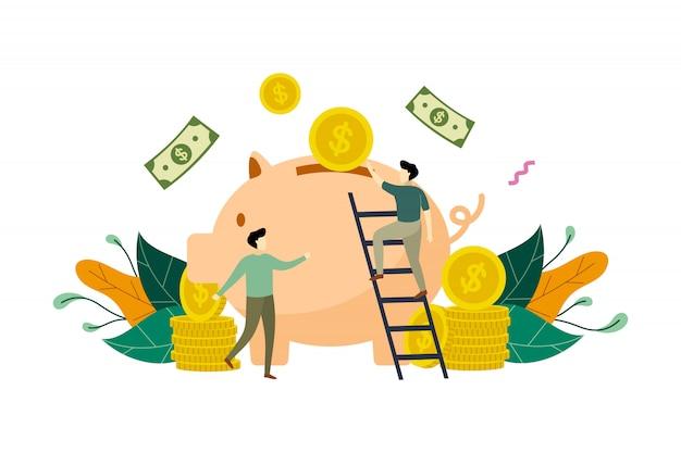 Экономия денег с копилкой концепции иллюстрации