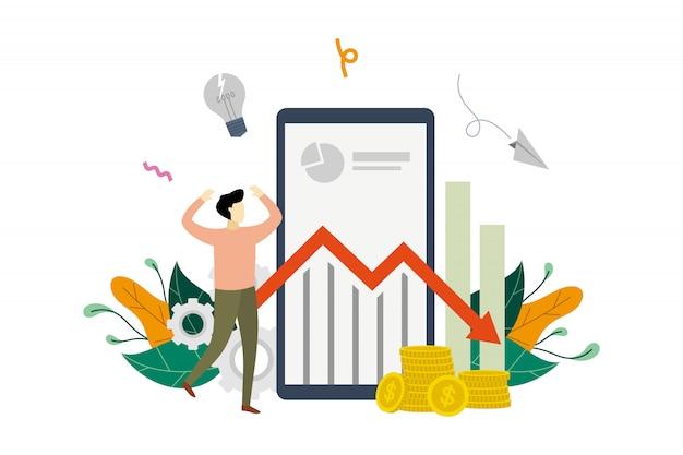 Потеря прибыли бизнеса, уменьшение прибыли, маркетинг доход вниз плоской иллюстрации шаблон фондового графика стрелка