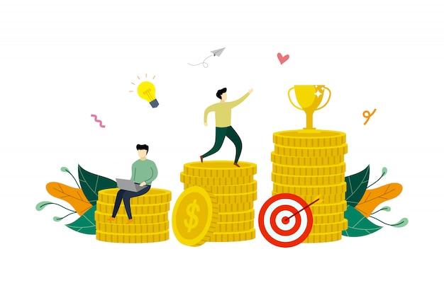 成功へのビジネス利益成長、金融利益増加フラットイラスト