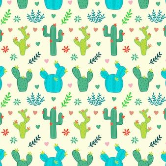 サボテン、多肉植物、シームレスな花柄
