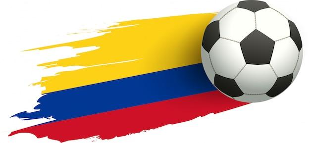 Футбольный мяч и флаг колумбии. победный удар