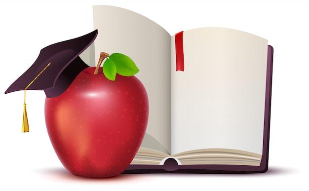 Открытая книга, красное яблоко и символ доски знаний и образования