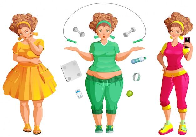 太った女性は損失を失う。フィットネスとダイエットは健康と美容への道