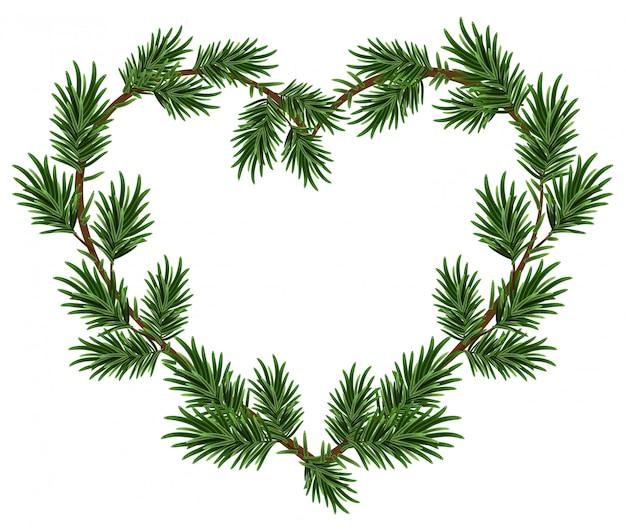クリスマスハートフレームスプルースの枝。クリスマスカードのテンプレート