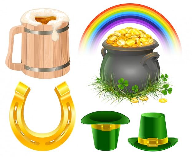 パトリックの日のシンボル。アイルランドのビール、虹、レプラコーン帽子、ポットコイン、ゴールデンホースシューのマグカップ