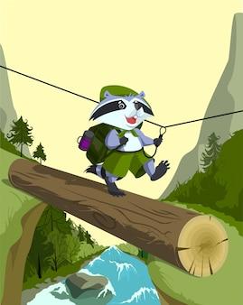 スカウトアライグマはログに記録されます。山川を渡る