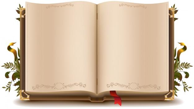 古い開いた本