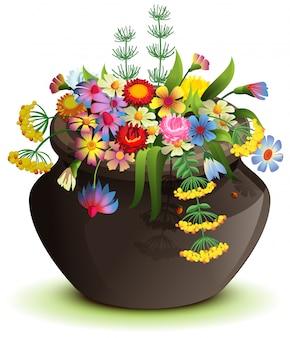 野生の花と黒のハロウィーンポット。白で隔離漫画イラスト