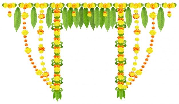 マンゴーの葉とマリーゴールドの花のドアのガーランド。ウガディまたはグディパドワインドの旧正月