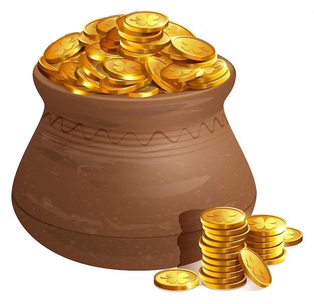 金貨を入れたフルセラミックポット。金の古い宝物