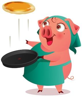 エプロンの豚の女性が鍋でパンケーキを調理します。