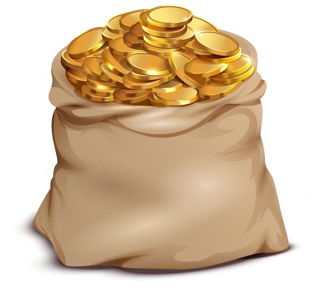 Золотые монеты на открытой полной сумке, изолированные на белом