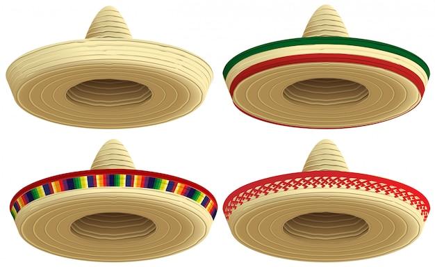 メキシコのわらのソンブレロの帽子。