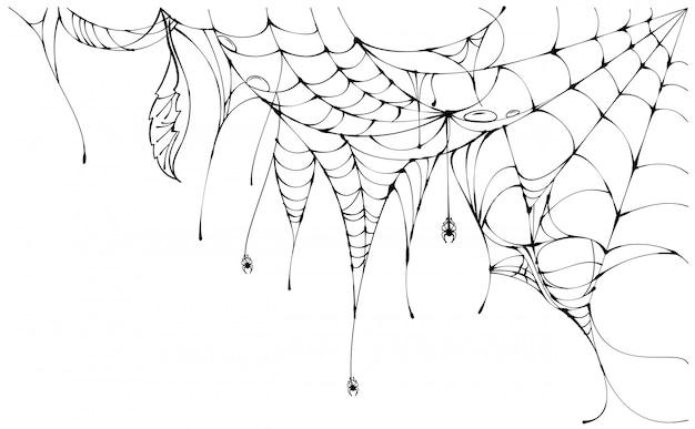 白い背景のハロウィーンのシンボルに黒の引き裂かれたクモの巣