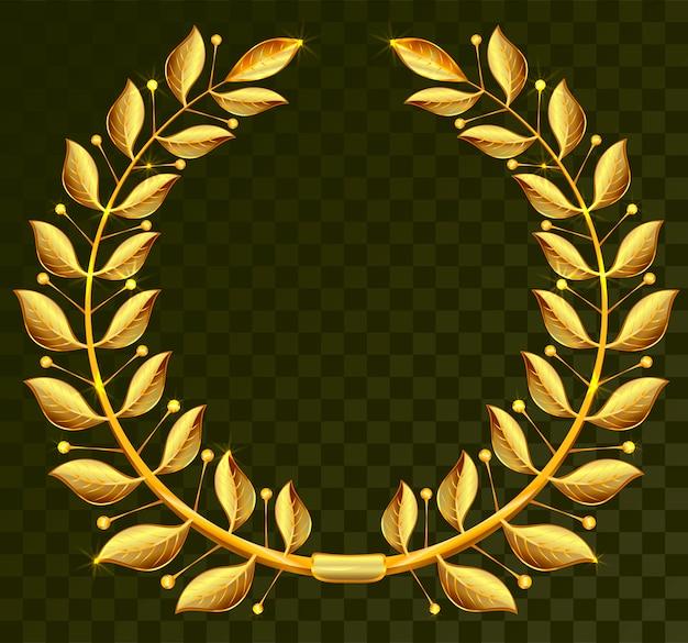 Золотой лавровый венок на темном прозрачном