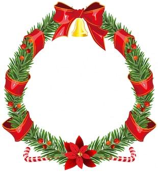赤いリボンとベルとクリスマスのモミの花輪