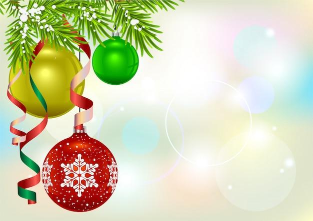モミ枝とクリスマスボール