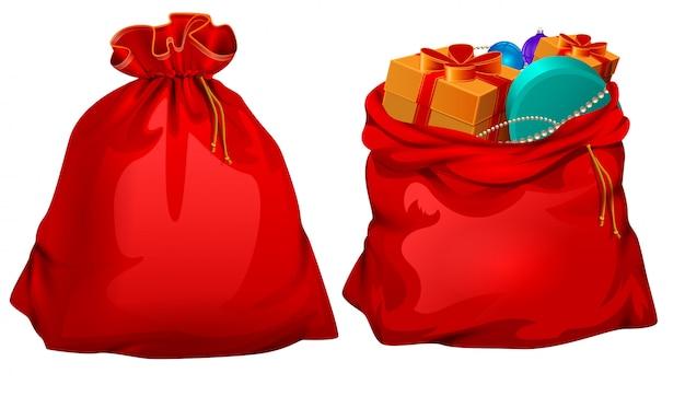 Полный подарок открытой и закрытой красной сумке санта-клауса