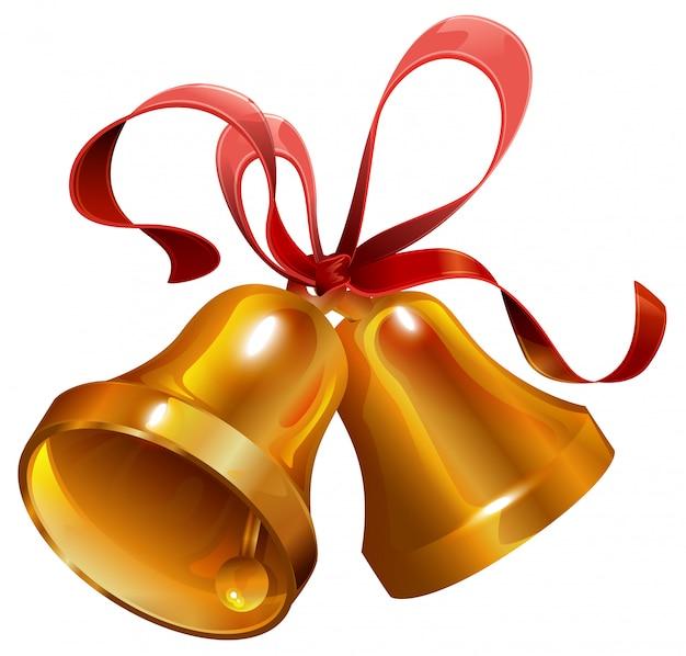 Два золотых рождественских колокольчика с красной лентой