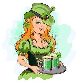 Патрик девушка держит поднос с зеленым пивом
