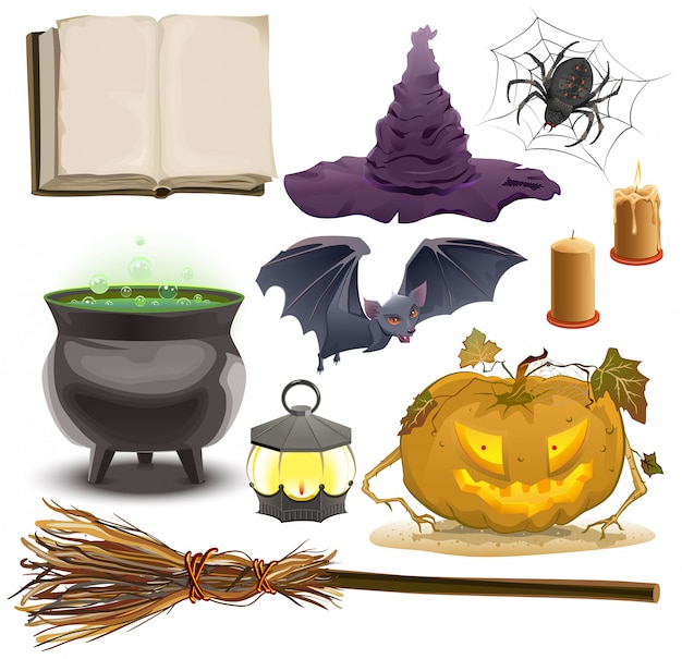 ハロウィーンオブジェクトアクセサリーカボチャ、ランタン、帽子、ほうき、大釜、クモ、バット、古い本を設定します