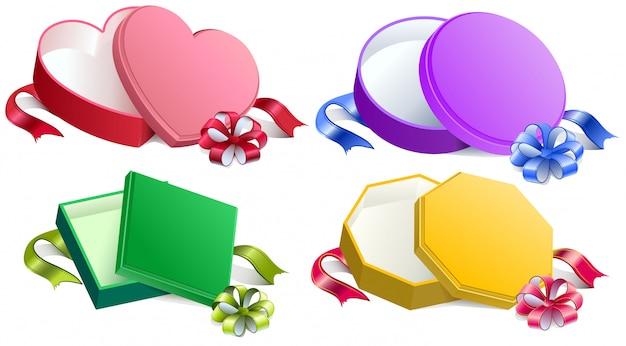 Установите открытую подарочную коробку с лентой и бантом