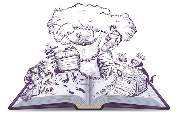 プーシキンのロシアの物語の開いた本