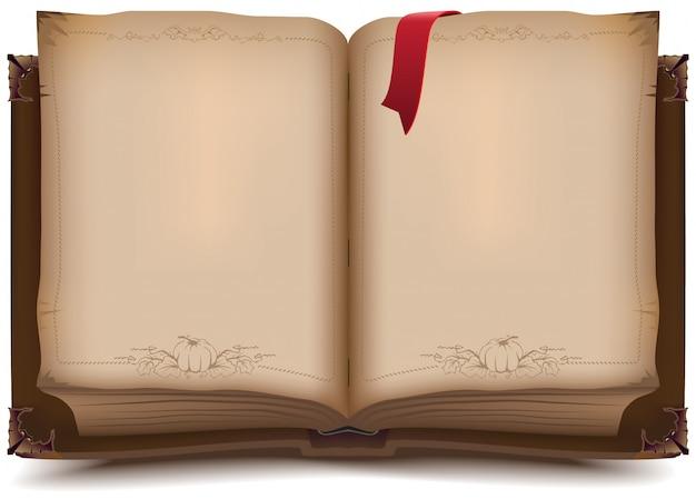 ハロウィーンのための古い開かれた本