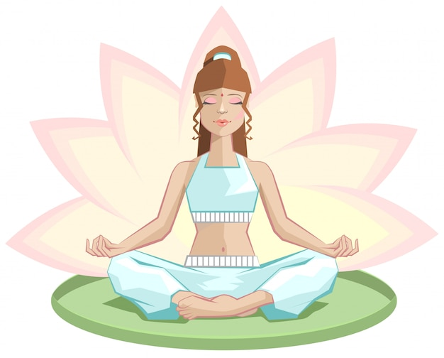 Йога, красивая девушка медитирует в позе лотоса