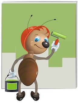 アリの画家が壁を塗る