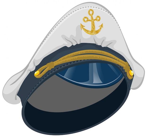 アンカー付きホワイトキャプテンキャップ