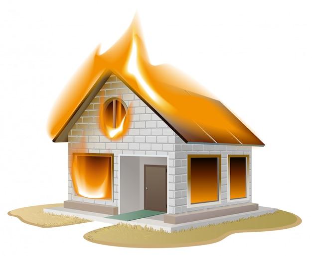 火の白いれんが造りの家、危険にさらされている国のコテージ