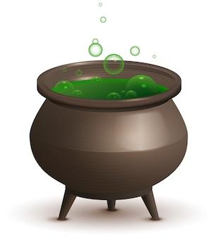 緑の魔法のポーションと大きな鉄の鍋。ハロウィンアクセサリー