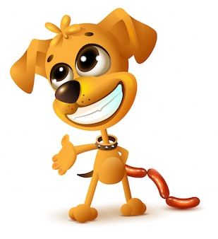Забавный желтый щенок прячет сосиски
