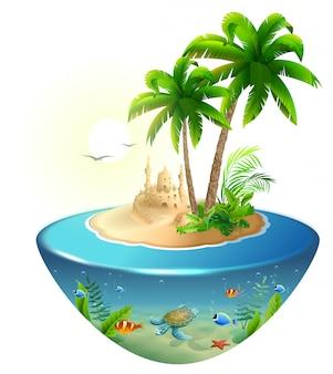 海の楽園熱帯の島。ヤシ、砂の城、ウミガメ。夏のビーチでの休暇