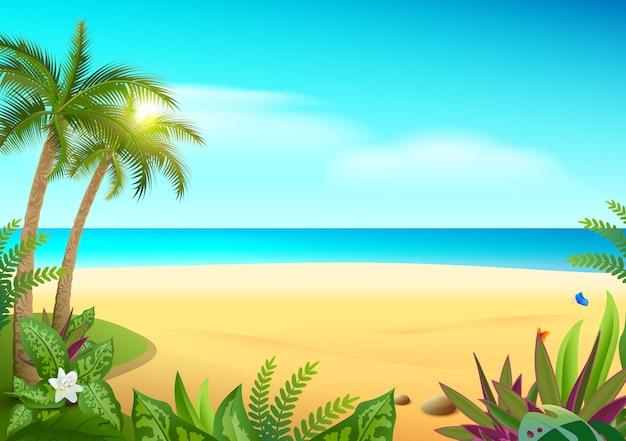 熱帯の楽園の島の砂浜、ヤシの木と海