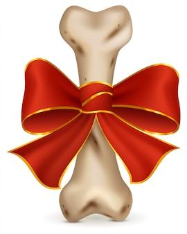犬の犬のおやつ用の骨。赤いリボンの弓が付いているギフト