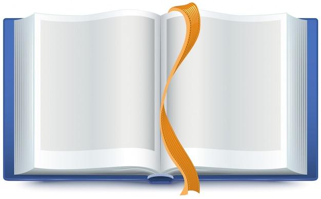 Синяя открытая книга с закладкой