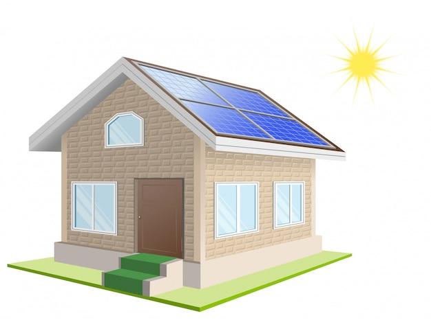 別荘。屋根上のソーラーパネル。太陽光発電