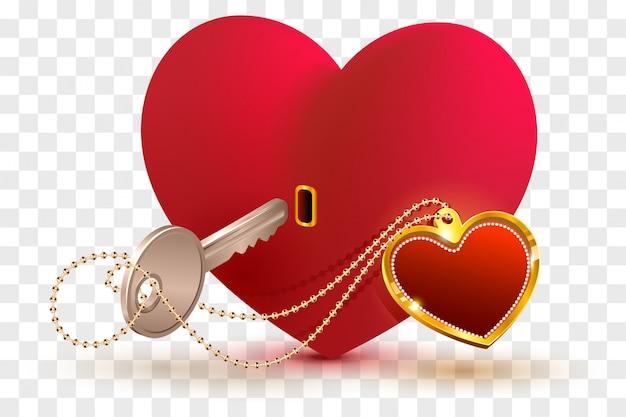 愛はあなたの愛する人の心の鍵です。赤いハート形のロックとキー