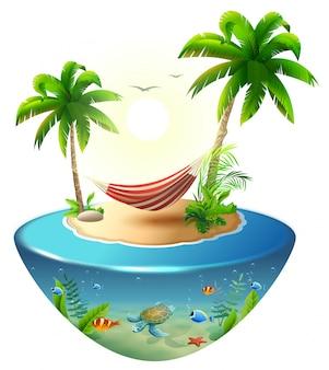熱帯の島のヤシの木の間のストライプハンモック。ハワイのパラダイスビーチバケーション