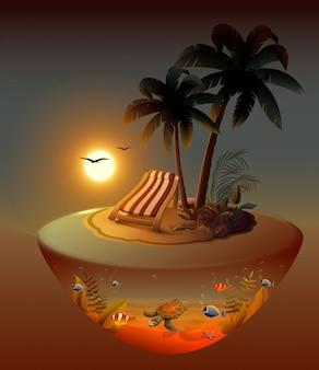 Летний отдых на ночном тропическом острове под пальмами.